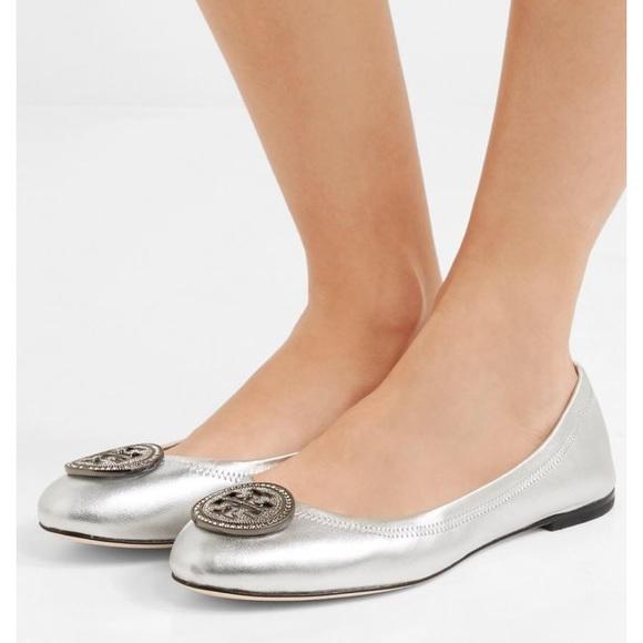 010407c11717 🖤NWOB Tory Burch Liana Ballet Flat In Silver
